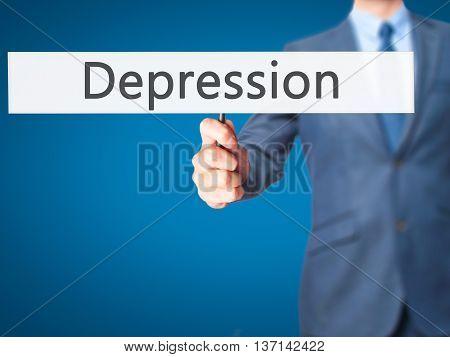 Depression - Businessman Hand Holding Sign