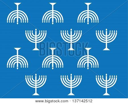 Vector Menorah Wall Paper Background Pattern White on Blue