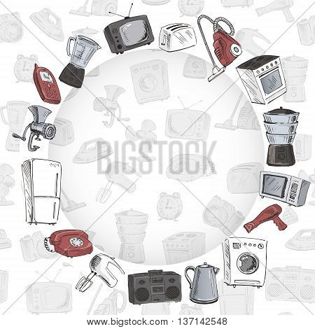 Sketches of household appliances arranged on a circle seamless background with different electrical engineering. Vector illustration.