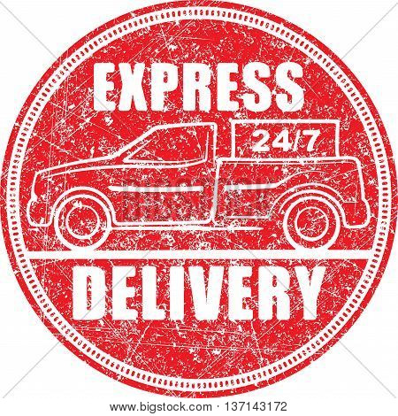 Express delivery 24/7 red rubber stamp design with silhouette of pickup truck