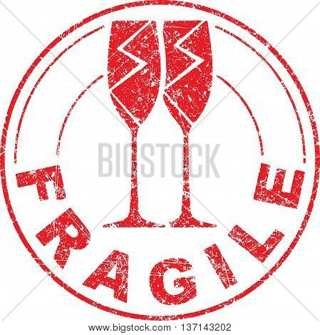 Fragile red grunge rubber stamp with pair of broken wine glasses