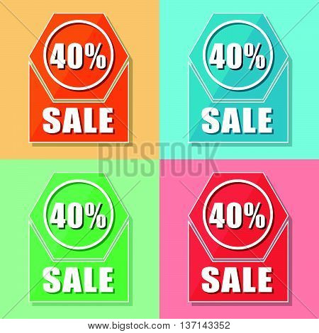 40 percentages sale, four colors web icons, flat design, business shopping concept, vector