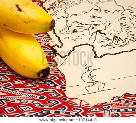 Treasure map and bananas