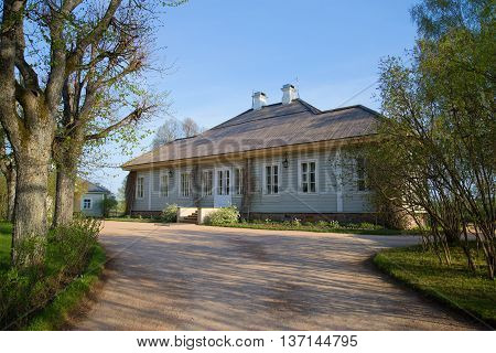 PSKOV REGION, RUSSIA - MAY 08, 2016: May morning at the home of poet A. S. Pushkin. The estate