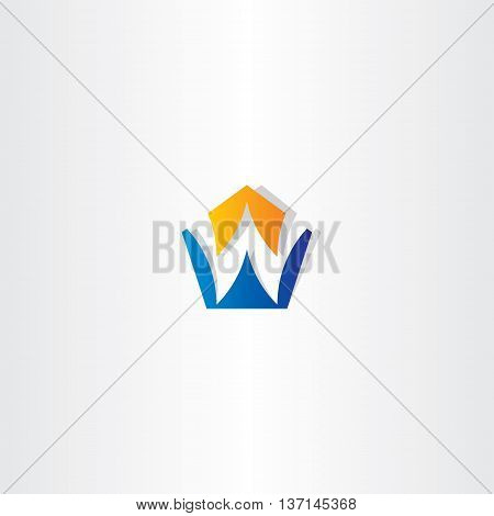 Letter W Pentagon Vector Icon Logo