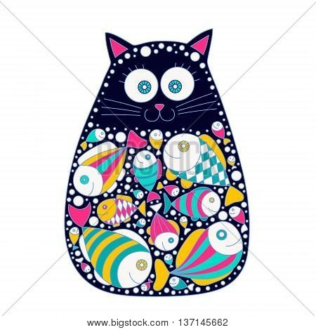Cat and fish. Cute vector hand drawn cat with fish in stomach. Doodle cat for kids design. Retro colors - pink yellow green black and white. Isolated.