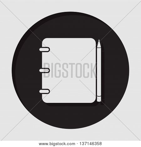 information icon - dark circle white notepad with pencil and shadow