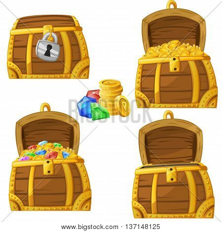 Illustration of cartoon chest locked open and full of gold and jewels. Vector Illustration.
