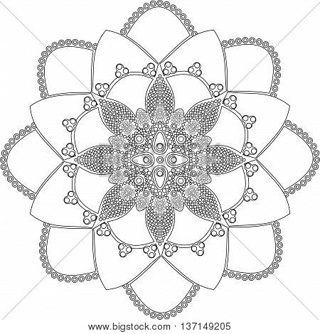 Aboriginal style of dot painting and power of mandala 2 - 16. Doodle dot ornament art mandala. Black and white ethnic background.Coloring book for adults and kids.