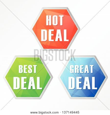 hot, best, great deal, three colors hexagons web icons, flat design, business shopping concept, vector