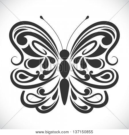 Black and white ornamental butterfly vector shape.
