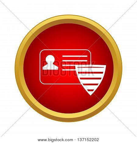 ID card and shield icon in simple style on a white background