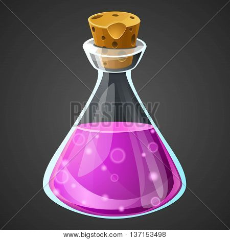 Vector cartoon potion bottle. Vial with purple liquid.