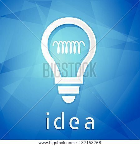 idea and light bulb sign - text over blue background with white symbol, concept web icon flat design, vector