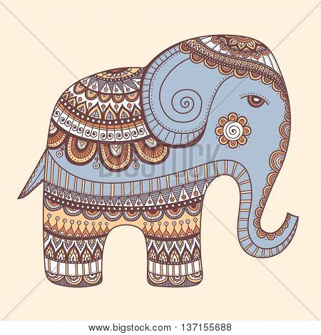 Indian elephant. Hand drawn doodle indian elephant with tribal ornament. Vector ethnic elephant. Pastel colors - yellow grey brown beige and white.