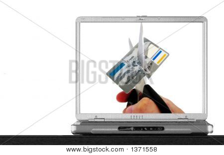 Notebook  With A Credit Card On Screen