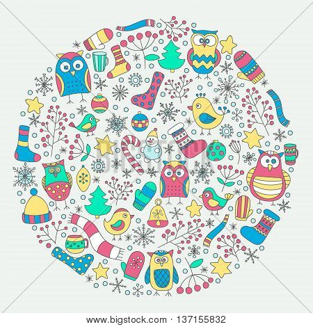 Vector round with christmas elements. Hand drawn cute doodle winter elements in circle. Funny owls birds stars mittens snowflakes berries and socks.