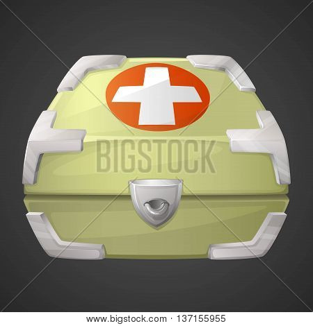 Vector funnycartoon medicine box or case. Vector illustration.