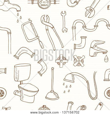 Seamless pattern with Plumbing hand drawn decorative icons set vector illustration