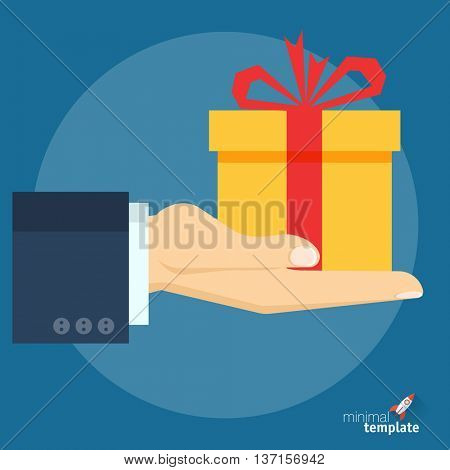 Flat design vector hand with gift box icon for application interface, presentation and web design. The concept template for special offer, Christmas and New Year, gift option, sale and discount.