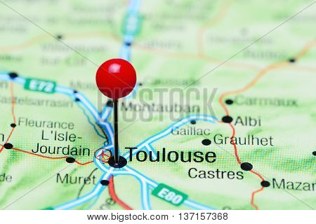 Toulouse pinned on a map of France