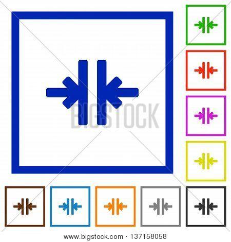 Set of color square framed Vertical merge flat icons