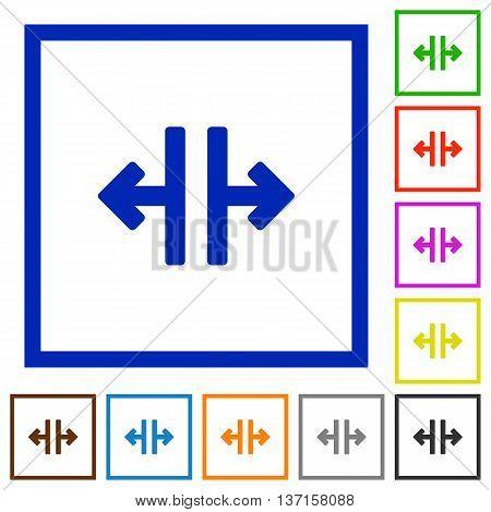 Set of color square framed Vertical split flat icons
