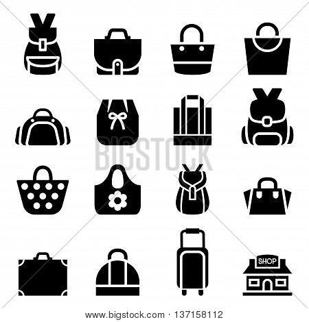 Silhouette Shopping bag icon  Vector illustration Graphic design