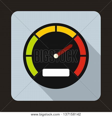 Speedometer dial icon in flat style with long shadow. Auto spare parts symbol