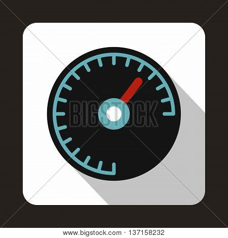 Speedometer with blue backlight icon in flat style with long shadow. Auto spare parts symbol