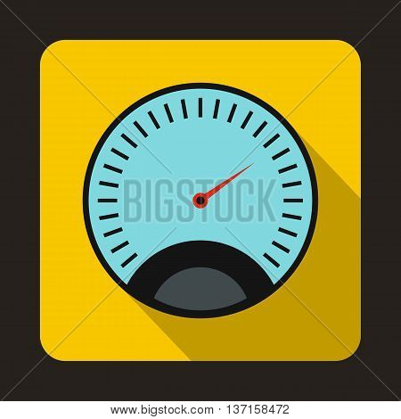 Speedometer with blue background icon in flat style with long shadow. Auto spare parts symbol