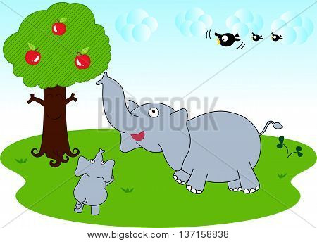 The little elephant want to eat fresh apples and her mom is going to pick them for her.