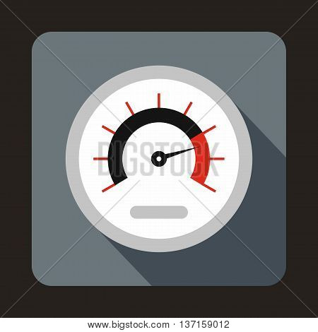 Exclusive speedometer icon in flat style with long shadow. Auto spare parts symbol