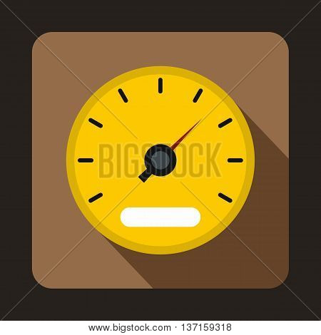 Yellow speedometer icon in flat style with long shadow. Auto spare parts symbol