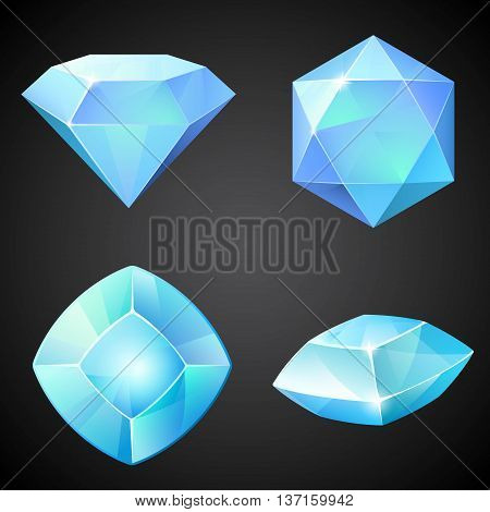 Set of light blue gemstones. Vector illustration.