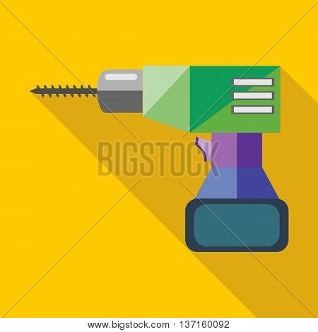 Screwdriver icon in flat style with long shadow. Tools symbol