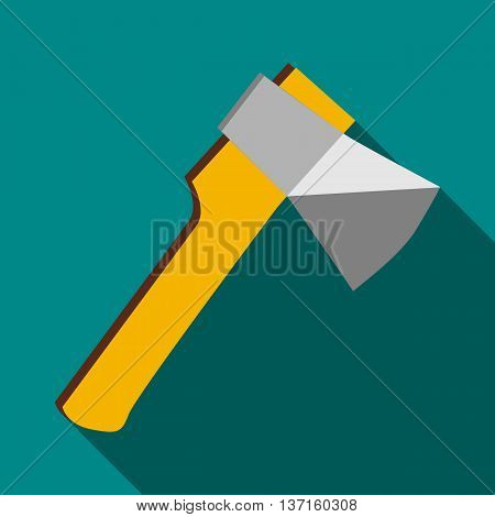 Axe icon in flat style with long shadow. Tools symbol