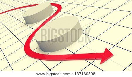 arrow. Toned image, 3D illustration
