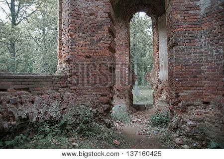 Ruins of old homestead in Gostilitsy. St. Petersburg, Russia