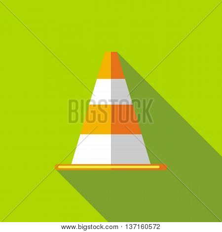 Traffic cone icon in flat style with long shadow. Tools symbol