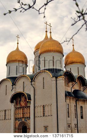 Dormition cathedral of Moscow Kremlin. UNESCO World Heritage Site. Color photo.