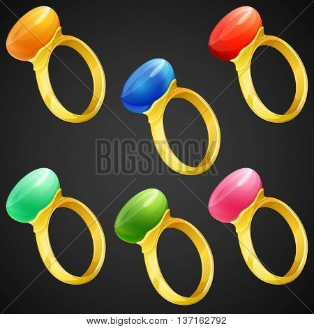 Set of colorful rings with gemstones.  Vector illustration.