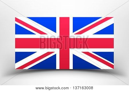 Britain Flag with soft shadow on a white background