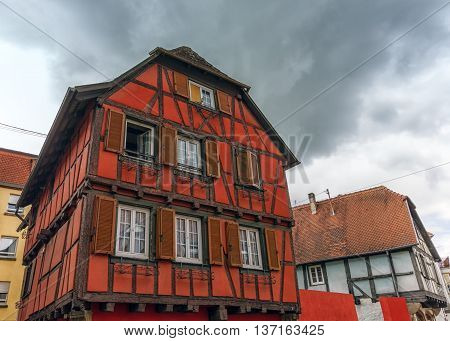 Colorful half-timbered houses in Obernai village, Alsace, France