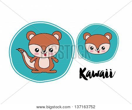 chipmunk  kawaii style isolated icon design, vector illustration  graphic