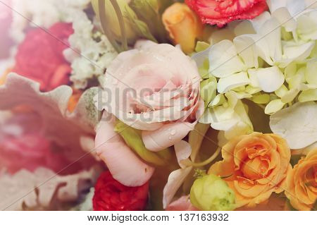 background of flower bouquet in vintage style