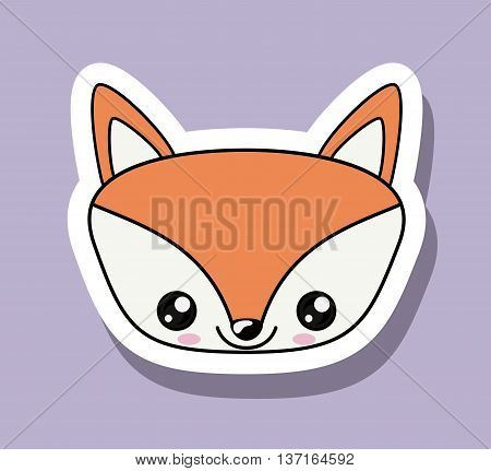 fox character kawaii style isolated icon design, vector illustration  graphic
