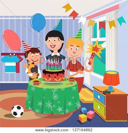 Family Birthday Party. Happy Family Celebrating Sons Birthday. Boy with Dog. Vector illustration