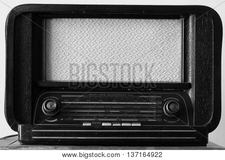Black and white composition of an old radio tuner