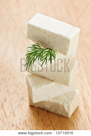 Feta Cheese Cubes With Dill Twig